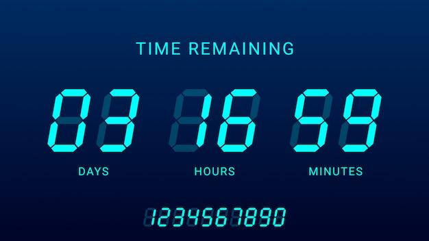 Tempo restante ilustração com temporizador de contagem regressiva do contador de relógio digital Vetor Premium