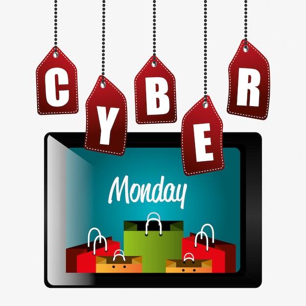 Temporada de compras cyber segunda-feira Vetor grátis