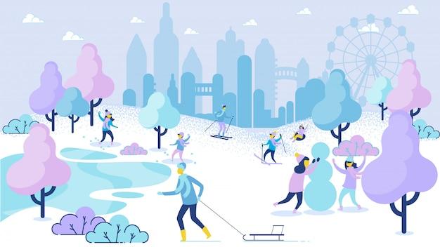 Temporada de inverno lazer cartoon pessoas diversão no parque Vetor Premium