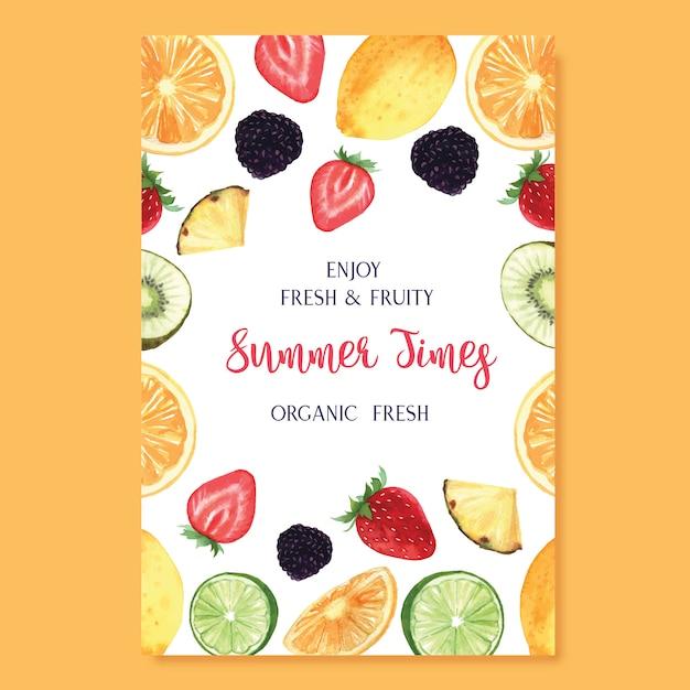 Temporada de verão frutas tropicais cartaz, maracujá, abacaxi, frutado fresco e saboroso Vetor grátis