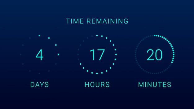 Temporizador contador de tempo restante Vetor Premium