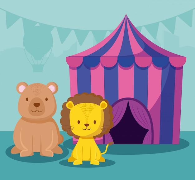 Tenda de circo com animais fofos Vetor Premium