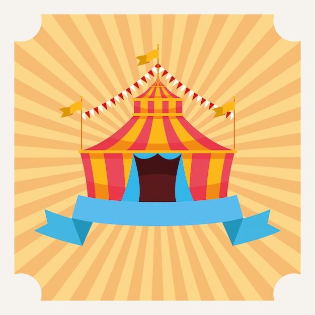Tenda De Circo Com Desenhos Animados De Bandeiras Vetor Gratis