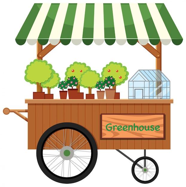 Tenda de loja de carrinho de planta Vetor grátis