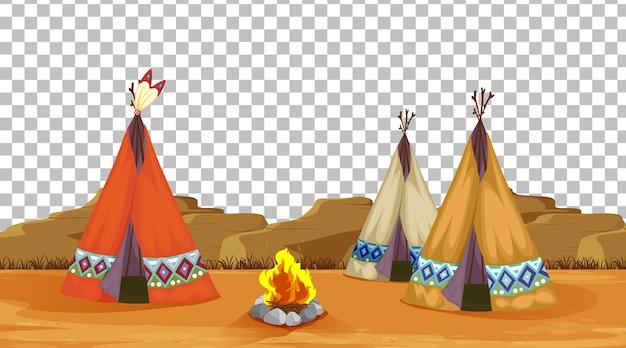 Tenda e acampamento com fogo Vetor grátis