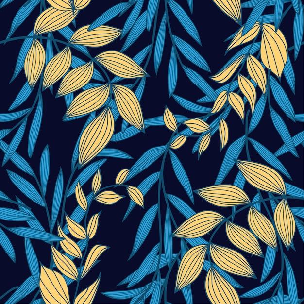 Tendência abstrata padrão sem emenda com folhas tropicais coloridas e plantas em um escuro Vetor Premium