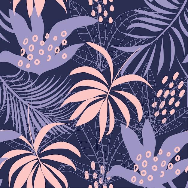 Tendência abstrata padrão sem emenda com folhas tropicais coloridas e plantas em um fundo escuro Vetor Premium