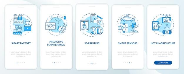 Tendência da indústria 4.0 para integrar a tela da página do aplicativo móvel com conceitos. agricultura inteligente, impressão 3d, etapas de acompanhamento dos sensores. modelo de iu com cor rgb Vetor Premium