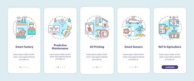 Tendências da indústria 4.0 na tela da página do aplicativo móvel com conceitos. fábrica inteligente, impressão 3d, sensores inteligentes passo a passo 5 etapas. modelo de iu com cor rgb Vetor Premium