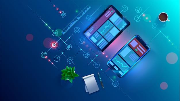 Tendências de análise e estratégia financeira usando infográfico Vetor Premium