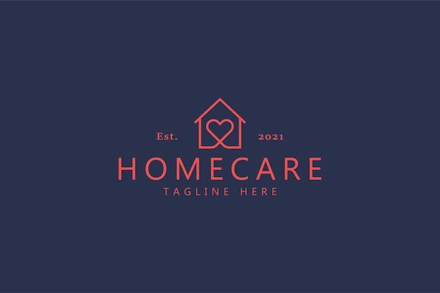 Tendências em homecare love heart logo. seguro residencial Vetor Premium