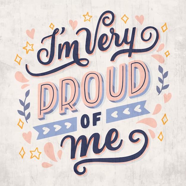 Tenho muito orgulho de mim letras de amor próprio Vetor grátis