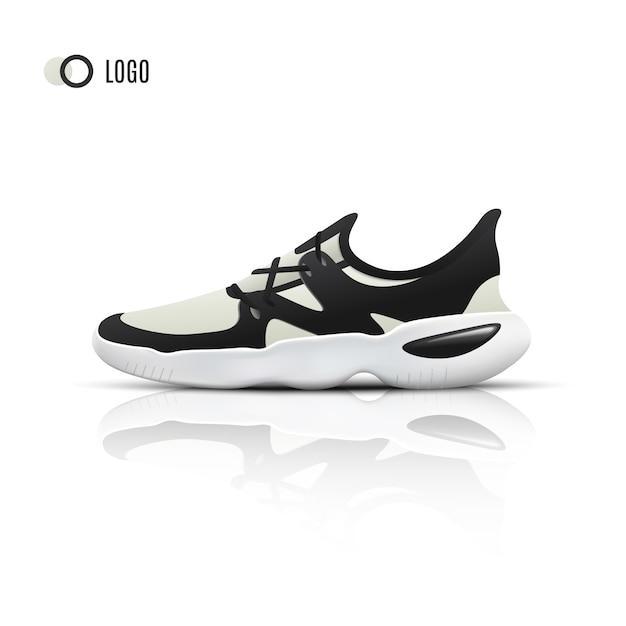 Tênis de corrida esporte realista para treinamento e fitness Vetor Premium