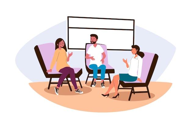 Terapia de grupo de design plano com homem e mulher Vetor Premium
