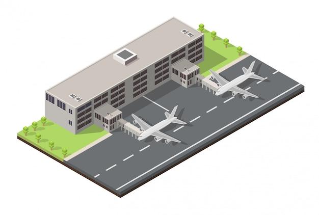 Terminal de aeroporto isométrico baixo poli. Vetor Premium