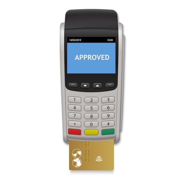 Terminal de pagamento realista Vetor Premium