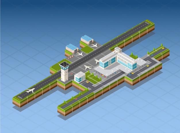 Terminal do aeroporto para a chegada e partida de aeronaves e passageiros que viajam Vetor Premium