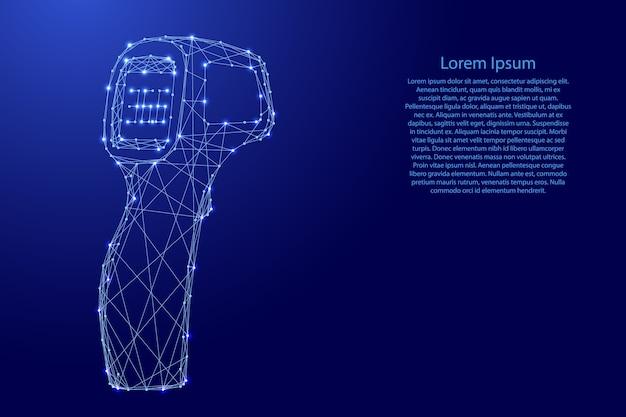 Termômetro arma eletrônico sem contato de linhas azuis poligonais futuristas e estrelas brilhantes. Vetor Premium