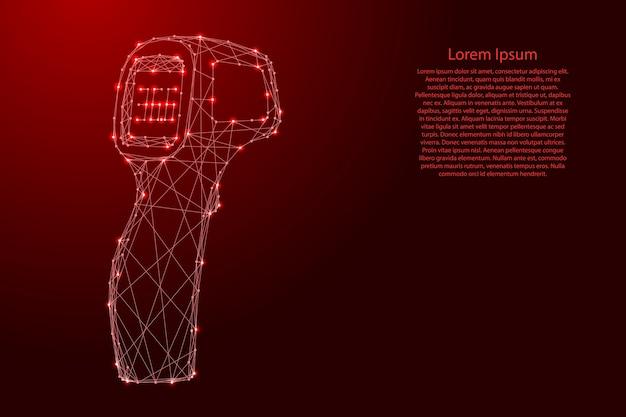Termômetro arma eletrônico sem contato de linhas vermelhas poligonais futuristas e estrelas brilhantes. Vetor Premium
