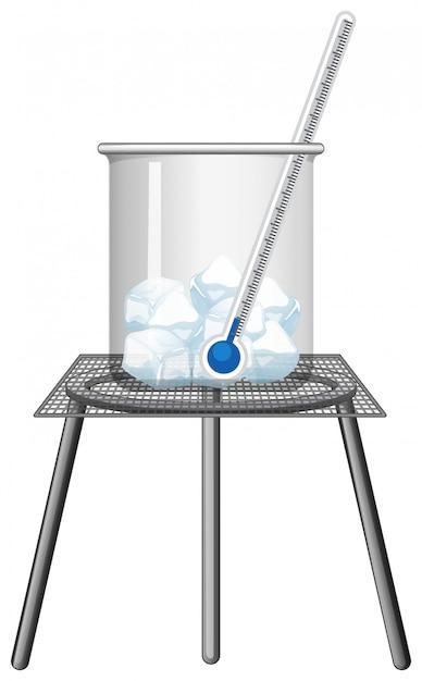 Termômetro em copo de gelo Vetor grátis