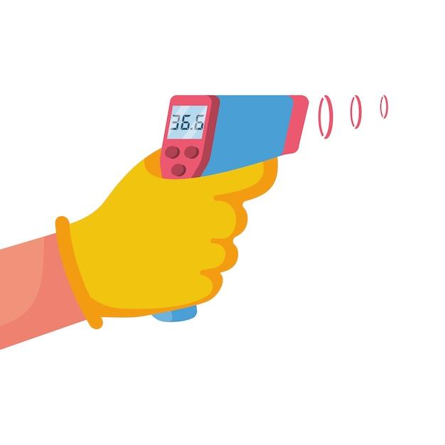 Termômetro infravermelho digital sem contato na mão médico. Vetor Premium