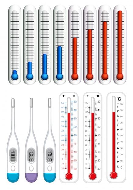 Termômetros em diferentes escalas Vetor grátis