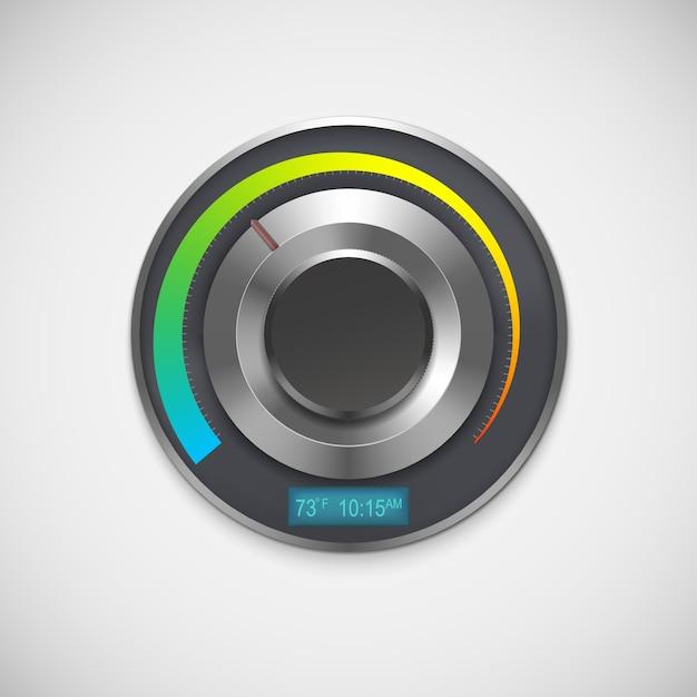 Termostato com indicadores fahrenheit, isolado no fundo branco. Vetor Premium