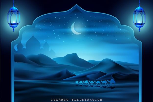 Terra árabe por andar em camelos à noite Vetor Premium