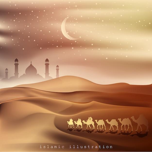 Terra arábica e deserto montando em camelos Vetor Premium