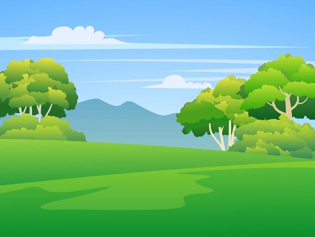 Terra de grama verde com árvores e montanhas Vetor Premium