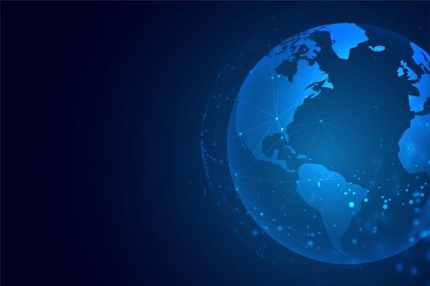 Terra de tecnologia com fundo de conexão de rede Vetor grátis