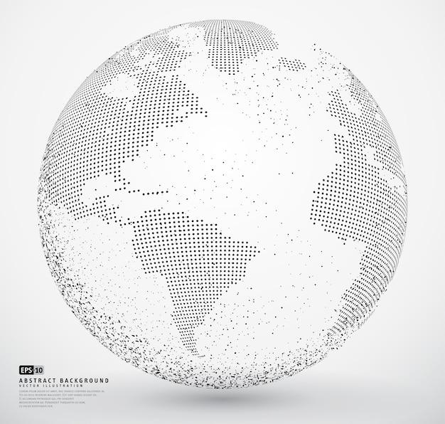 Terra do globo pontilhada abstrata Vetor Premium