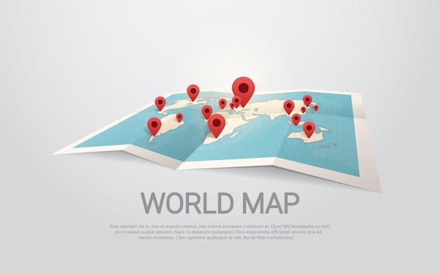 Terra do mapa do mundo com conceito do curso dos pinos Vetor Premium