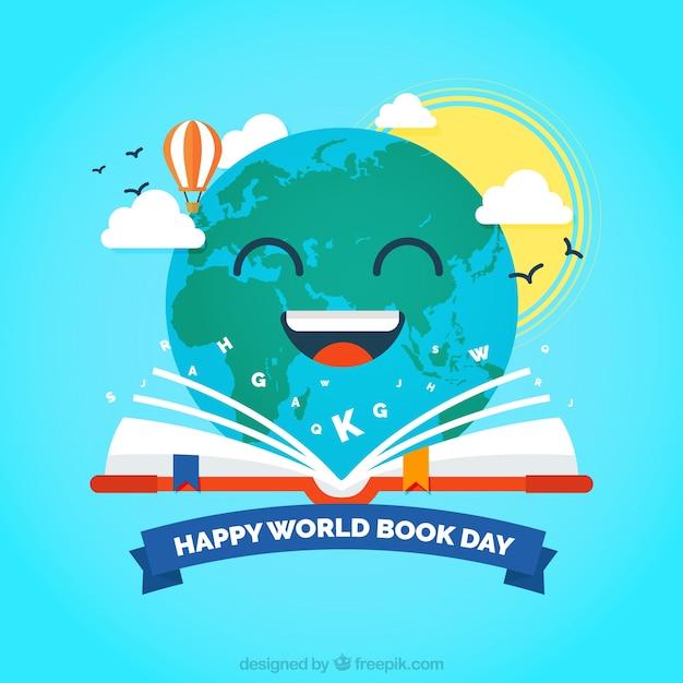 Book Cover Design World Book Day ~ Terra feliz lendo um fundo livro baixar vetores grátis