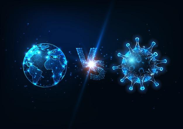 Terra futurista do planeta contra o conceito da luta do coronavirus com a  pilha de globo e vírus de baixo poli brilhante. | Vetor Premium