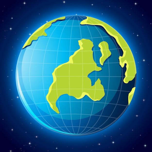 Terra na cena do espaço Vetor grátis