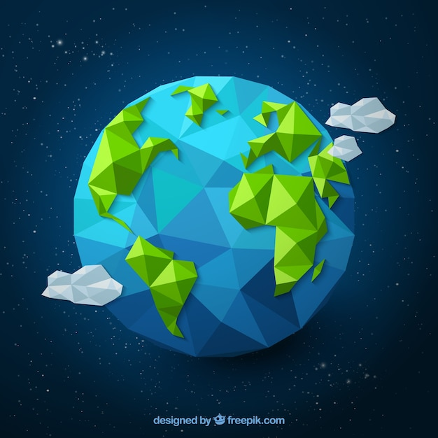 Terra poligonal Vetor grátis