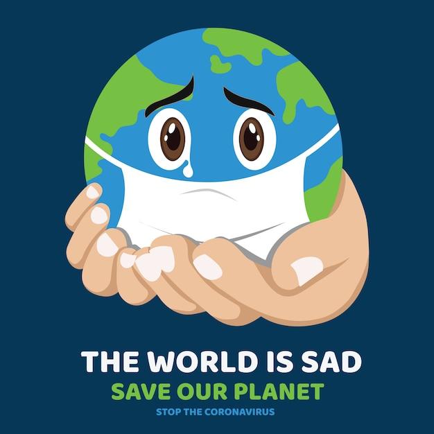 Terra triste bonito, coronavirus atacando a terra, desenhos ...