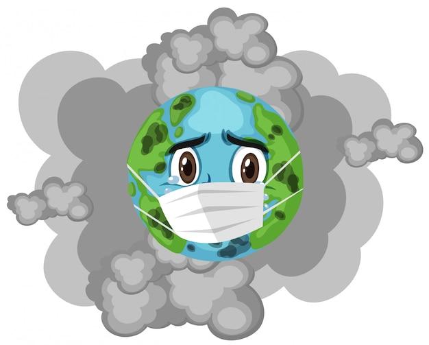 Terra vestindo máscara com fumaça suja Vetor Premium