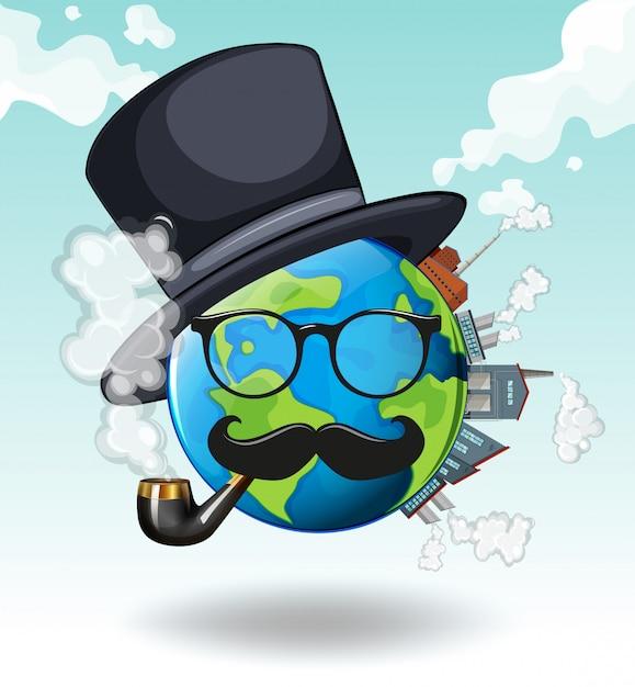 Terra vestindo óculos e chapéu Vetor grátis