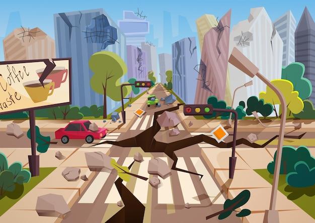 Terremoto realista com fendas no solo em desenhos animados em ruínas de casas urbanas da cidade com rachaduras e danos. desastre natural ou cataclismo, ilustração vetorial de catástrofe natural Vetor Premium