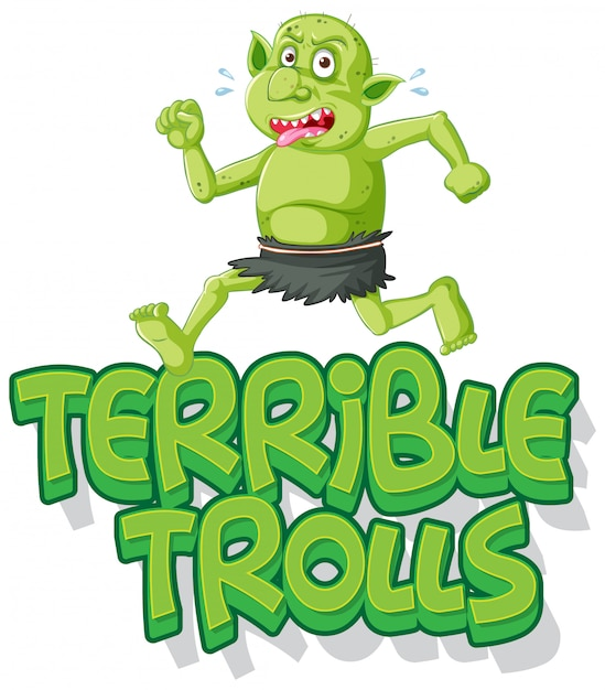 Terríveis trolls logotipo sobre fundo branco Vetor grátis