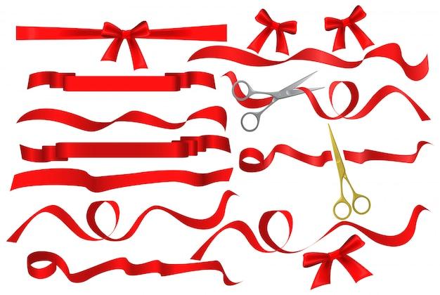 Tesoura corte conjunto de fita de seda vermelha Vetor Premium