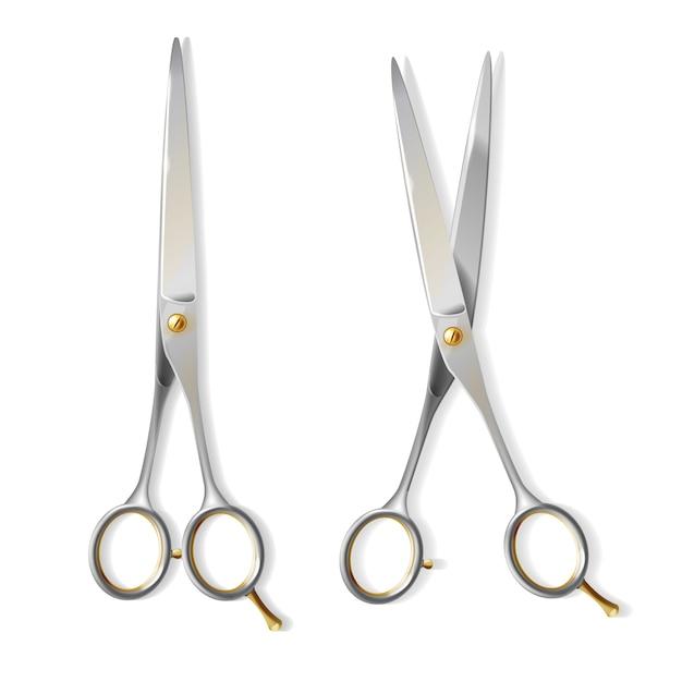 Tesouras metálicas 3d realistas com o parafuso de cobre para o cabeleireiro. aço brilhante de lâminas Vetor grátis