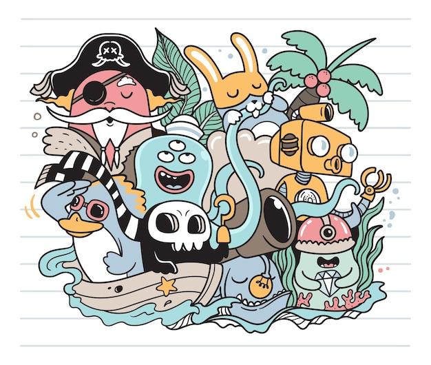Tesouro no oceano doodle Vetor Premium