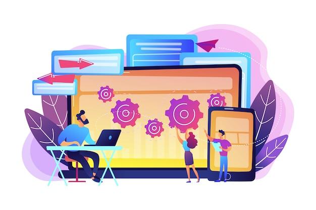 Testador e desenvolvedor trabalham com laptop e tablet. criação de bug de plataforma cruzada, identificação de bug e conceito de equipe de teste em fundo branco. ilustração isolada violeta vibrante brilhante Vetor grátis