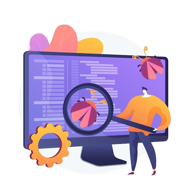 Teste de software. personagem de desenho animado do programador com lupa procurando defeitos no programa, aplicação. bugs, erros e riscos de software. ilustração vetorial de metáfora de conceito isolado Vetor grátis