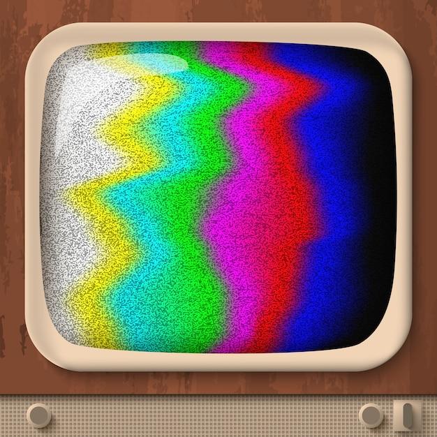 Teste de tv retrô com linhas onduladas coloridas Vetor Premium