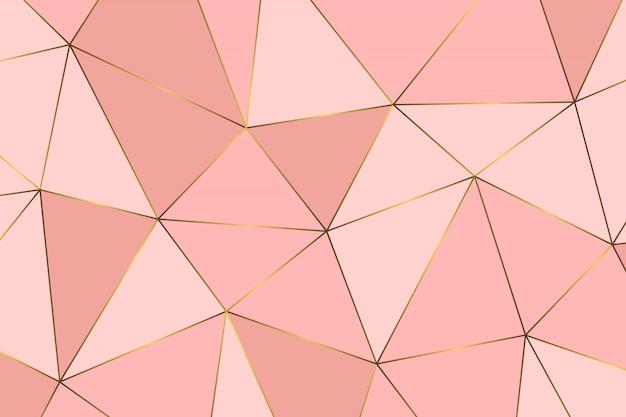 Teste padrão abstrato geométrico de ouro rosa Vetor Premium