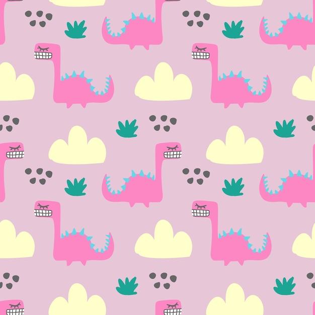 Teste padrão animal do monstro colorido sem emenda do divertimento para a cópia de matéria têxtil das crianças Vetor Premium